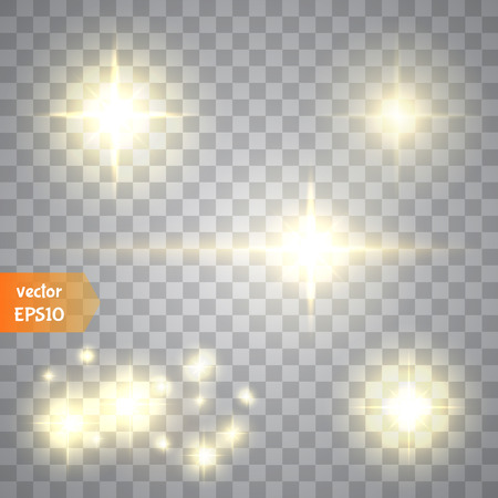 Glow special effect light, flare, star and burst. Isolated spark.