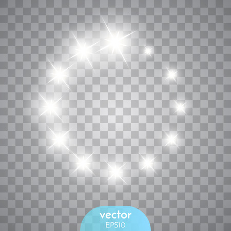 flare: Vector glowing stars, lights and sparkles. Transparent effects. Vector illustration
