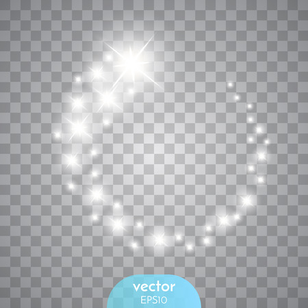Vector glowing stars, lights and sparkles. Vettoriali