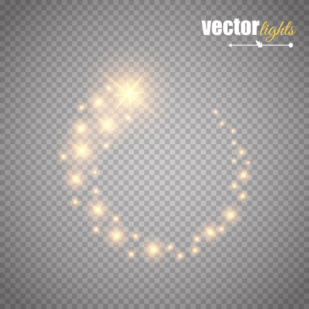 Vector glowing stars, lights and sparkles. Ilustracja