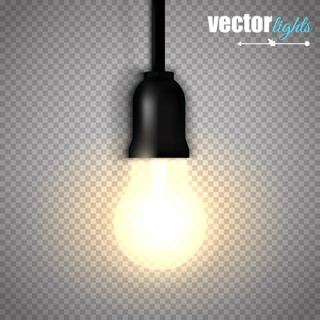 lit: A lit light bulb isolated on transparent background.