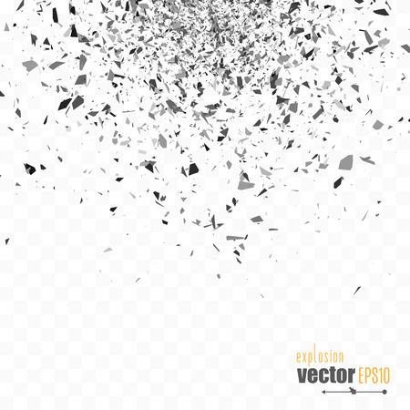 Explosion cloud of black pieces.