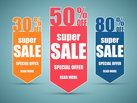 Super Sale paper banner. Sale background. Super Sale and special offer.  イラスト・ベクター素材