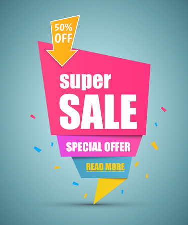 background banner: Super Sale paper banner. Sale background. Super Sale and special offer. Illustration