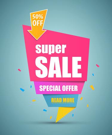 offer icon: Super Sale paper banner. Sale background. Super Sale and special offer. Illustration