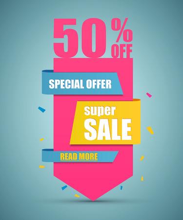 offer: Super Sale paper banner. Sale background. Super Sale and special offer. Illustration