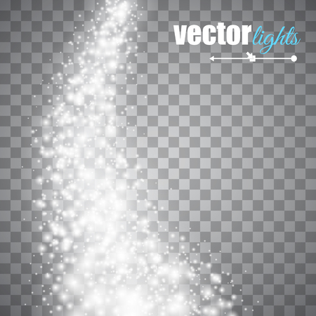 Vector white glitter wave abstract background. White glittering star dust trail sparkling particles on transparent background. Magic glow background