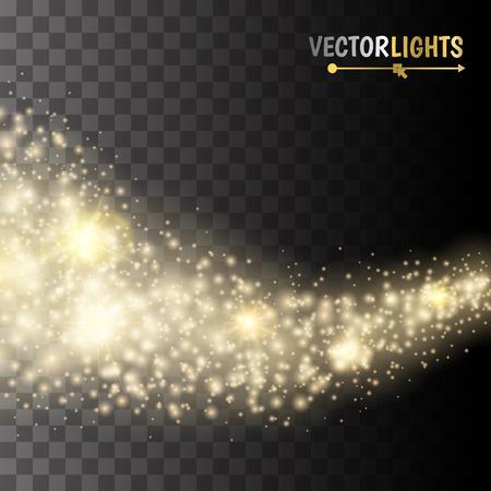 staub: Vector Gold-Glitter Welle abstrakten Hintergrund. Gold glitzerndes Sternenstaub Spur glitzernde Partikel auf transparentem Hintergrund. magic Hintergrund