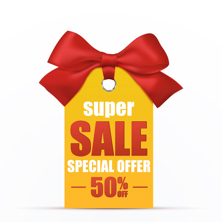sale tag: Super Sale poster template. Vector illustration. Price tag or label with red ribbon and bow isolated on white background