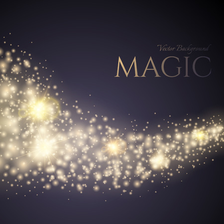 magical: A bright comet with large dust. Falling Star. Glow light effect. Vector Magic Background