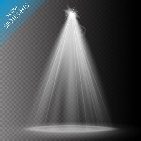 stage projector: Vector Spotlights. Scene. Light Effects. Vector illustration