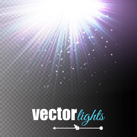 light beams: Light effect, sun rays, beams on transparent background. Vector illustration Illustration