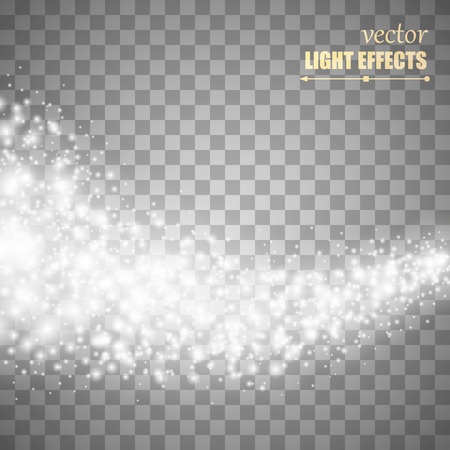 star trail: Vector white glitter wave abstract background. White glittering star dust trail sparkling particles on transparent background. Magic glow background