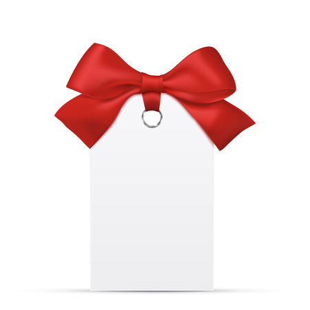 paper tag: Blank paper price tag or label with red bow. Vector Eps10