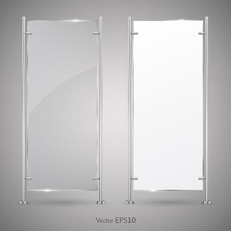 3d Advertising Vertical Stand glass And Blank White Banner. Vector Illustration. Mock-up Template For Designers.