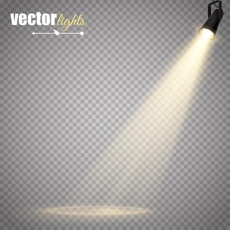 抽象的なベクトルのスポット ライトが透明な背景に分離されました。光の効果。