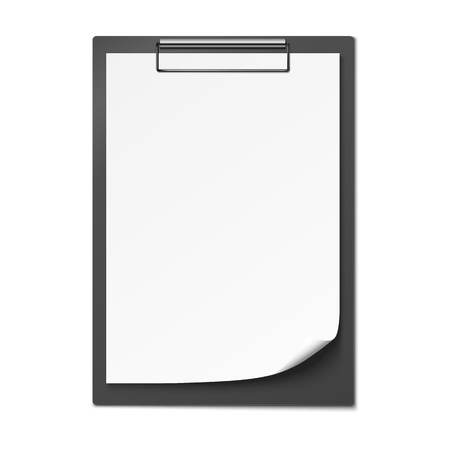 Clipboard with blank paper isolated on white background. Vector illustration