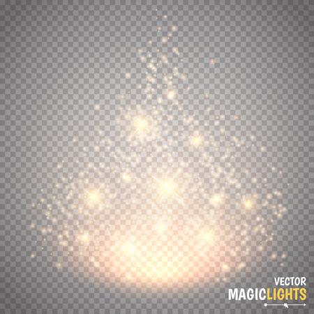 Magic light vector effect. Glow special effect light, flare, star and burst. Isolated spark. Vector illustration Ilustração