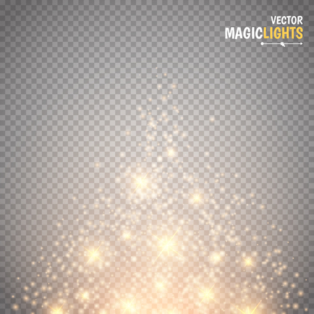 Magic light vector effect. Glow special effect light, flare, star and burst. Isolated spark. Vector illustration  イラスト・ベクター素材