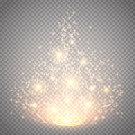 Magic light vector effect. Glow special effect light, flare, star and burst. Isolated spark. Vector illustration Vettoriali