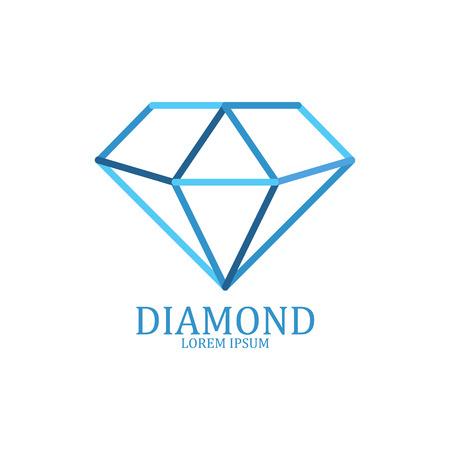 ダイヤモンドのロゴが分離されました。華麗な宝石用原石の標識です。ベクトル図