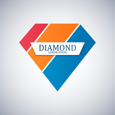 gemstone: Diamond logo isolated. Brilliant gemstone sign. Vector illustration
