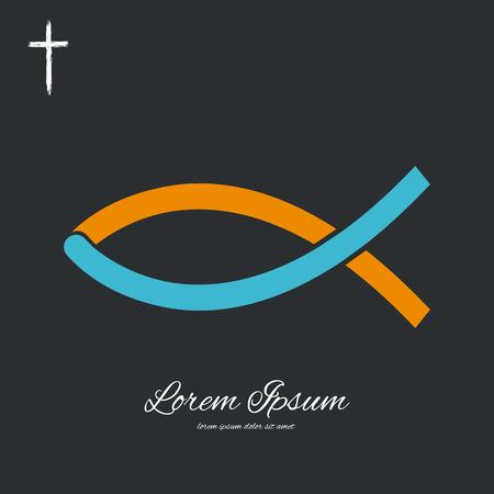 cristianismo: Símbolo cristiano de los pescados. Fondo del vector. Cruzar. Vector signo cristiano