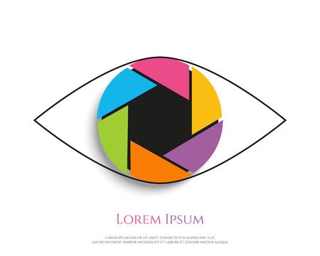 shutter aperture: Eye Logo design vector template. Colorful media icon. Shutter aperture. Vector illustration