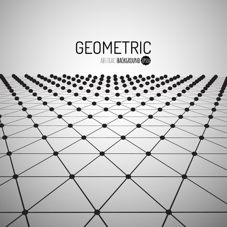 Technology vector geometric background. Futuristic concept. Connected triangles with dots. Vector illustration