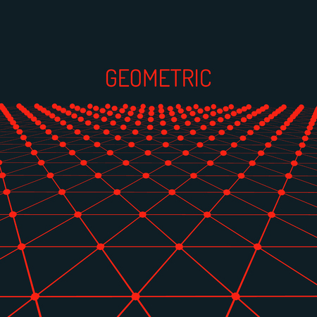 technical background: Technology vector geometric background. Futuristic concept. Connected triangles with dots. Vector illustration