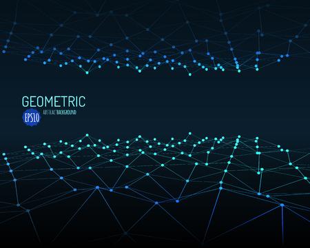 La tecnología de vectores de fondo. paisaje poligonal estructura metálica. Montañas con líneas conectadas y puntos. Ilustración del vector. Ilustración de vector