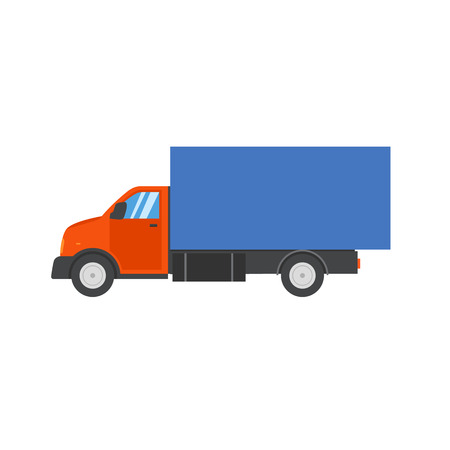 web side: Small truck for transportation cargo. Flat style vector illustration delivery service concept. Transport web icon or design element with american tractor unit pulling semi-trailer, side view, isolated