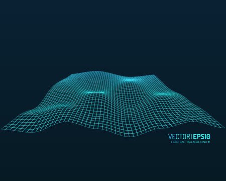 cyberspace: Abstract vector landscape background. Cyberspace grid. 3d technology vector illustration. Geometric background. Vector illustration Illustration