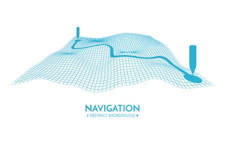 GPS navigator vector background. 3d technology vector map. Vector illustration