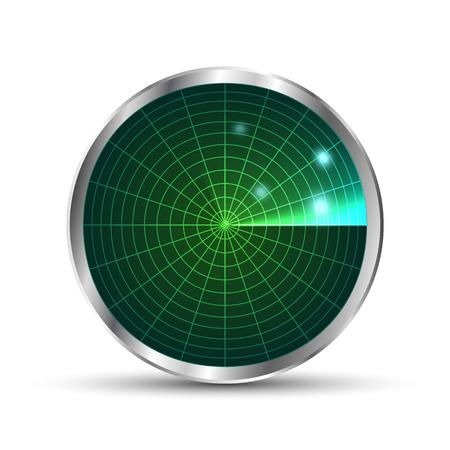 blip: Radar icon. Illustration on white background for design.Vector . Radar monitor with scanning. Vector illustration