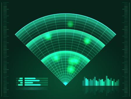sonar: schermo radar verde. Illustrazione vettoriale per la progettazione. Tecnologia sfondo. Interfaccia utente futuristico. HUD. Vettore.