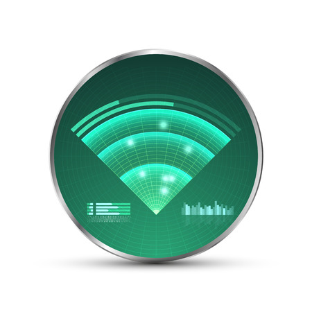 detect: Green radar screen. Vector illustration for your design. Technology background. Futuristic user interface. HUD. Vector .