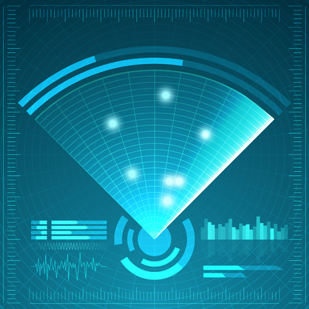 blip: Blue radar screen. Vector illustration for your design. Technology background. Futuristic user interface. HUD. Vector illustration. Illustration