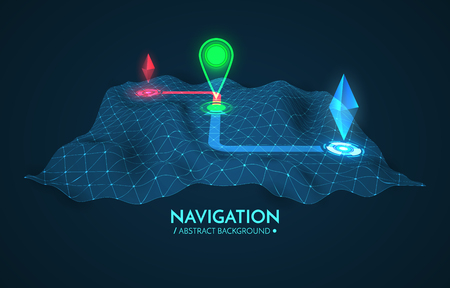 vecteur navigateur GPS fond. 3d technologie vecteur carte. Vector illustration