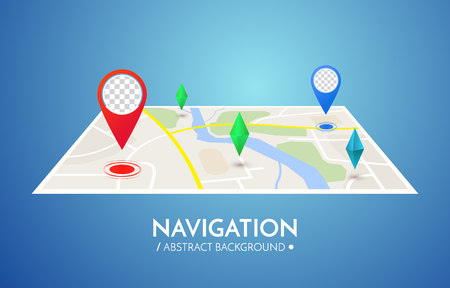 business sign: Gps navigation vector concept. Vector technology background