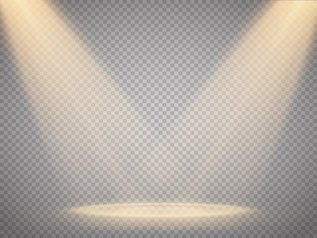 limelight: Vector isolated spotlight. Scene illumination. Light effect. Vector illustration