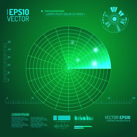 blip: Green radar screen. Vector illustration for your design. Technology background. Futuristic user interface. HUD. Vector .