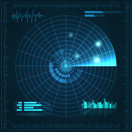 Blue radar screen. Vector illustration for your design. Technology background. Futuristic user interface. HUD. Vector illustration. Illustration