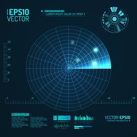 sonar: schermo radar blu. Illustrazione vettoriale per la progettazione. Tecnologia sfondo. Interfaccia utente futuristico. HUD. Illustrazione vettoriale.