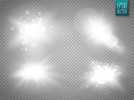 Vector transparent sunlight special lens flare light effect. Sun flash with rays and spotlight. Glow light effect. Star burst with sparkles. Vector illustration Ilustrace