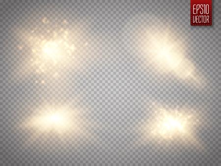 Set di effetti di luci incandescenti dorate isolato su sfondo trasparente. Il sole lampeggia con raggi e riflettori. Effetto luce bagliore La stella è esplosa di scintillii. Illustrazione vettoriale
