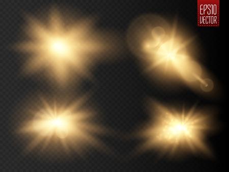 Jeu de lumières rougeoyantes d'or effets isolé sur fond transparent. Sun clignote avec des rayons et projecteurs. Glow effet de lumière. Star burst avec des étincelles. Vector illustration Banque d'images - 58730350