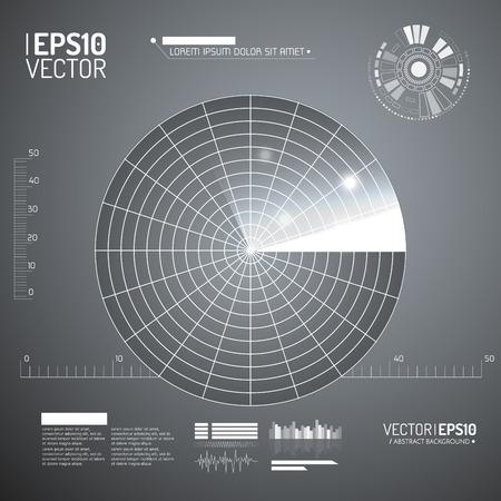 sonar: Schermo radar. Illustrazione vettoriale per la progettazione. Tecnologia sfondo. Interfaccia utente futuristico. HUD. Vettore.
