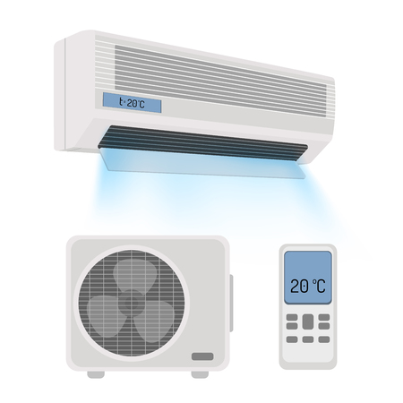 cooling system: Air conditioner isolated on white. Vector illustration