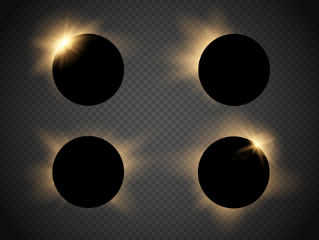 eclipse: Sun eclipse isolated on transparent background. Vector illustration Illustration